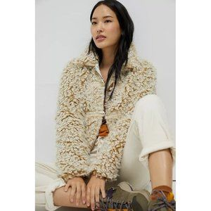 ANTHROPOLOGIE New XS Brenna Faux Fur Coat Taupe